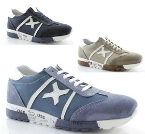 Sneakers uomo pelle blu jeans beige scarpe estive stringate sportive ... f4933ba92c9