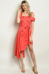 Coral-double-breasted-dress-with-asymmetrical-hem-by-Roly-Poly