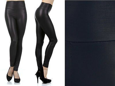 Plus Size High Waist Dull Foil Shiny Faux Leather Slim Fit Ankle Leggings Pants