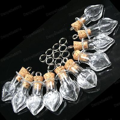 10pcs GLASS BOTTLE PENDANTS cork bottles TEARDROP/ROUND/TUBE empty large vials