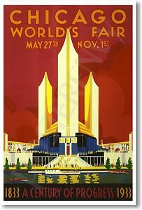 Chicago-Worlds-Fair-NEW-Vintage-Artwork-Decor-Reprint-POSTER