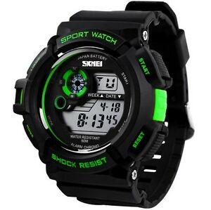men fashion led digital alarm date rubber army watch waterproof image is loading men fashion led digital alarm date rubber army