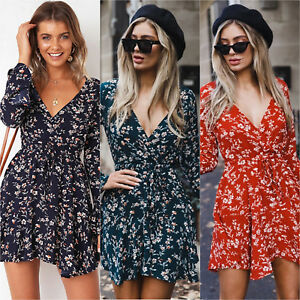 Women-039-s-Floral-Print-Deep-V-Neck-Mini-Dress-Ruffled-Lace-Up-Long-Sleeve-Swing