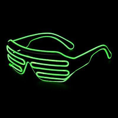 Serio Green El Filo Led Accendere Occhiali Neon Glow Party Rave Lampeggiante Tonalità Dell'otturatore-mostra Il Titolo Originale