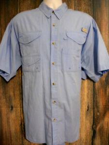 a64b51f3c31 Columbia PFG Mens sz XL Blue Short Sleeve Vented Back Fishing ...