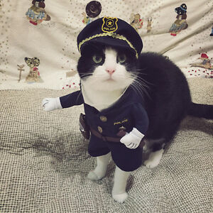 Pet Dog Cat Clothes Funny Police Officer Christmas Cosplay