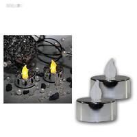 2er Set LED Teelicht silbermetallic flackernd Teelichter elektrisch Kerze Kerzen