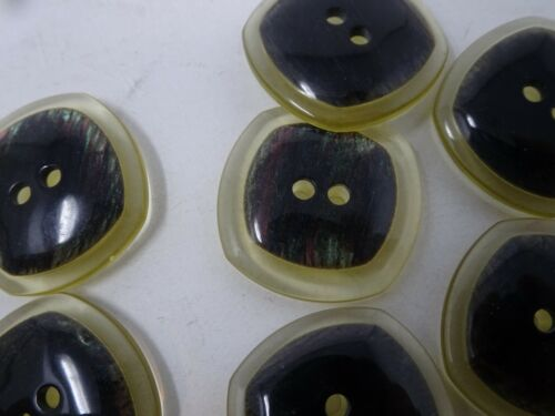 10 Square Black iridescent Colorful Accents Acrylic 2-Hole Button 23mm B67-6