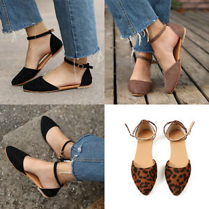 Women-Ballet-Flats-Ankle-Strap-Ballerina-Slipper-Pointed-Toe-Dolly-Casual-Shoes