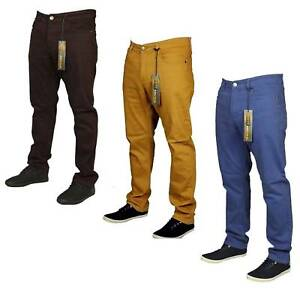 Mens-New-King-Size-Straight-Leg-Stretch-Chino-Jeans-Blue-Burgundy-Brown-Pants
