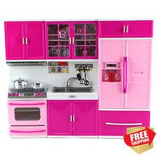 Playset Kitchen Barbie Size Doll Stove Sink Refrigerator Educational Girl Set