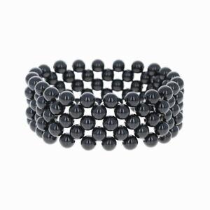 New-Chunky-Beaded-Bracelet-Blue-Purple-Sandstone-Stretch-Band-7-75-034-Statement