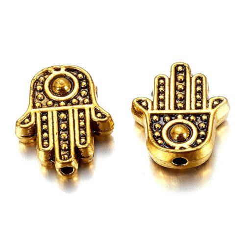 100x Tibetan Alloy Hamsa Hand Metal Beads Carved Antique Gold Loose Spacers 12mm