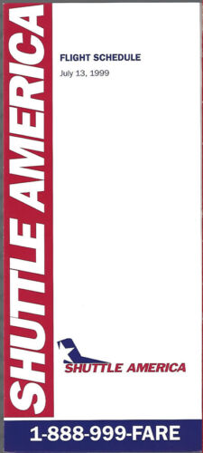 Buy 4 8071 Shuttle America system timetable 7//13//99 save 25/%