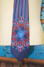 Gianni Versace 100% Silk Neck Tie Medusa Head Flowers Blue Purple Striped Spain