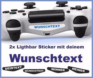 2x-PS4-Lightbar-Sticker-DEIN-TEXT-WUNSCHTEXT-Skin-Playstation-4-weiss