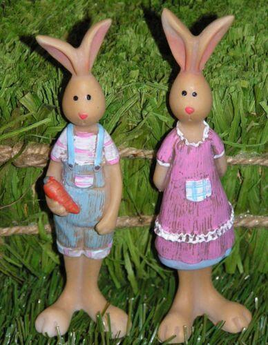 Knuffiges trendy Hasenpaar stehend Poly 12 cm Osterdeko Osterhase Preishit 5386