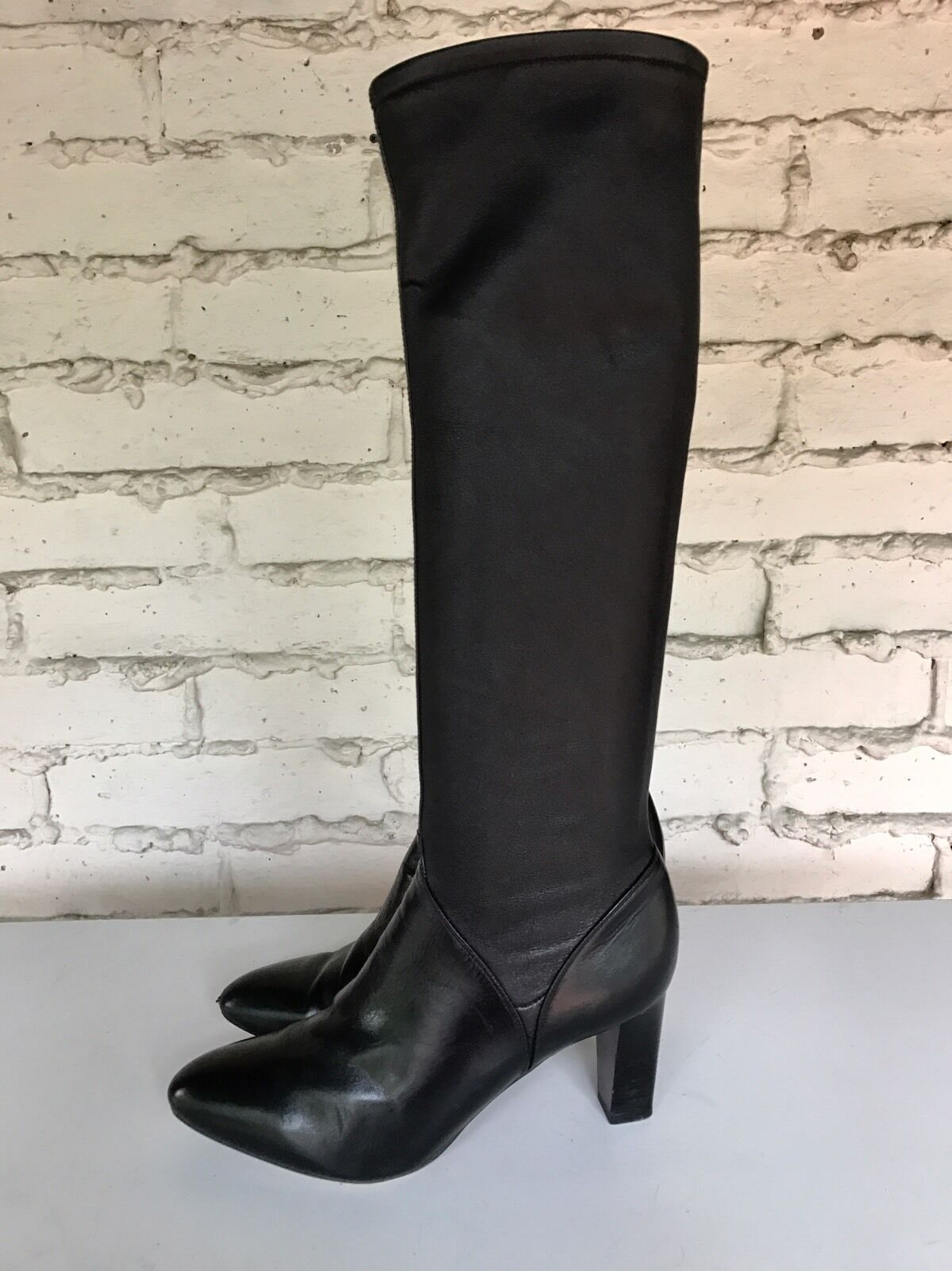 EUC Cole Haan Womens US 10B Joana Air Tall Stretch Leather Boots Black 498