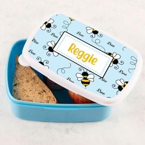 Personalised Boys Cute Bumble Bee Blue Lunch Box Tub Sandwich School Tub
