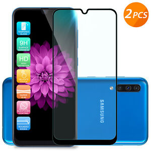 For Galaxy A50 A20 A10 A10e A20e [2-Pack] Black Tempered Glass Screen Protector