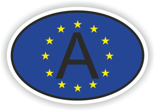 A AUSTRIA CODE OVAL WITH EUROPEAN UNION FLAG STICKER bumper decal car helmet