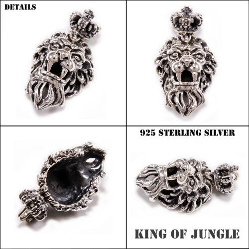CROWN LION KING 925 STERLING SILVER BEAST FANGS CROSS ROYAL BIKER PENDANT cs-029