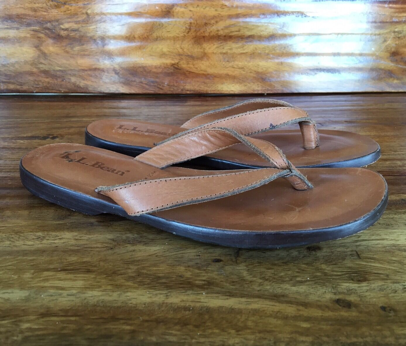 Women's L.L. Bean Flip Flop Sandals Tan Brown Leather 6.5 M
