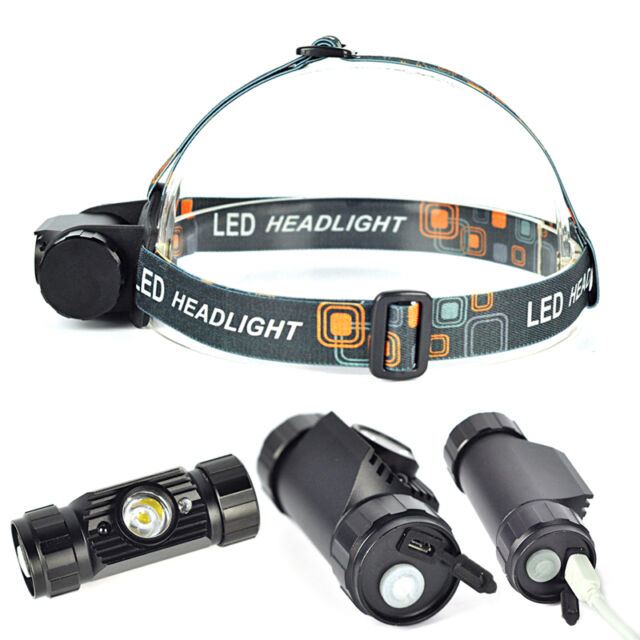1 Mode LED Infrared Sensors Rechargeable Headlamp Headlight Head Torch +USB Line