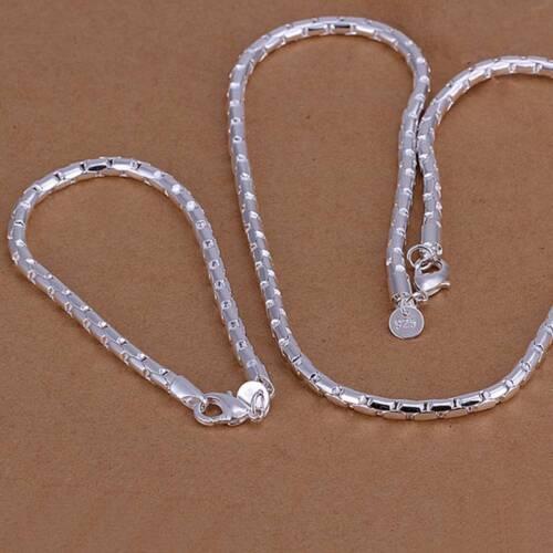 Fashion 925 Sterling Argent Massif Chaîne Bracelet Collier Hommes Bijoux Sets S079