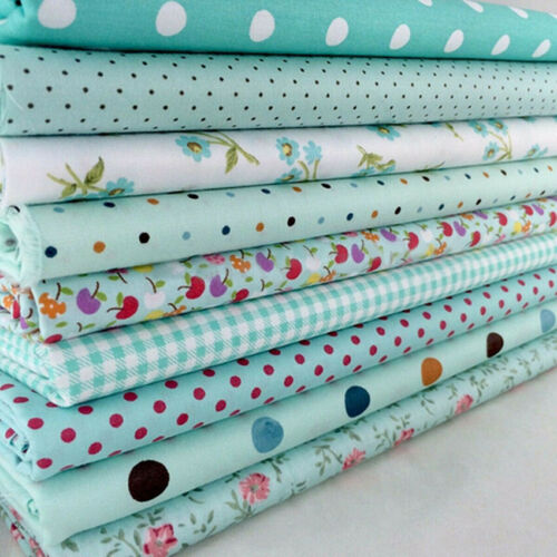 9pcs 25*25cm Blue Cotton Craft Fabric Bundle for Patchwork DIY Sewing Craft Tool