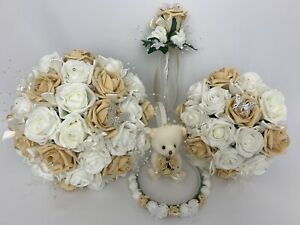 Bouquet Sposa Avorio.Bouquet Sposa Avorio Oro Rose Fiori Sposa Damigella Fiore