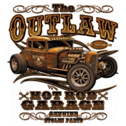 T Shirt in Olivton mit einem Hot Rod-,US Car-,`50 Stylemotiv Modell The Outlaw