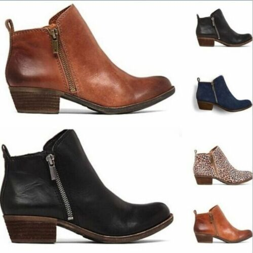 Womens Ankle Boots Low Block Heels