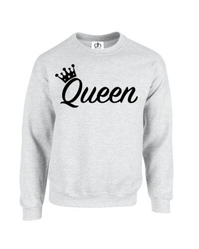 reina,SWEATSHIRT CORONA REINA JERSEY KING LOVE MR MRS Parejas TOP A juego