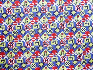 Stoff-Baumwolle-Baumwolldruck-Hinweisschilder-Verkehrszeichen-Kindermotiv-blau