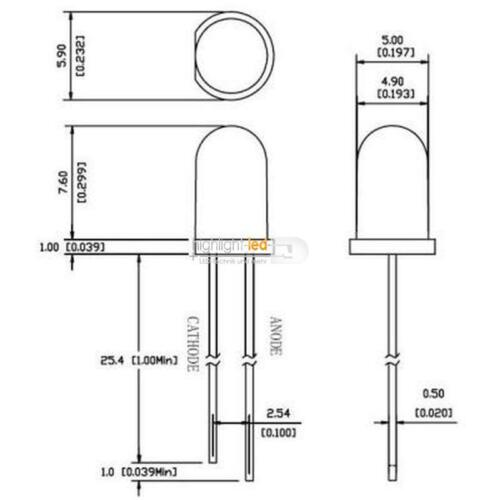 500 LED 5mm Acqua Chiaro Rosso diodi Gros Pack R