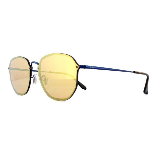 2f428ed4728 Ray-Ban Sunglasses Blaze Hexagonal RB3579N 90387J Blue Dark Orange Mirror  Gold
