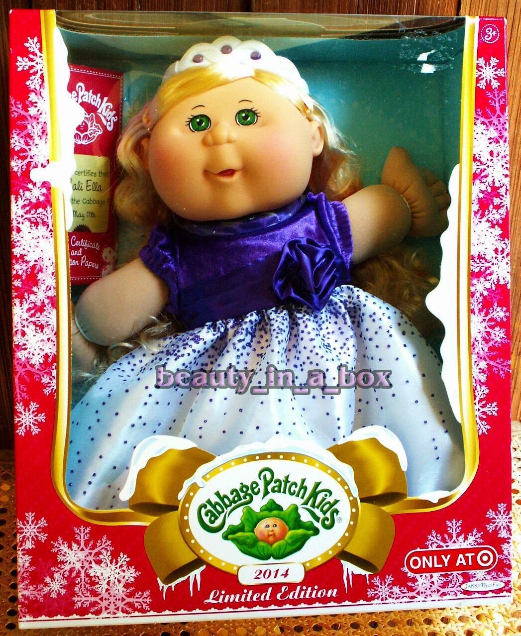 Cabbage Cabbage Cabbage Patch Kids Doll 2014 Holiday Blonde Hair lila Dress Cali Ella  May 11 5d60bf