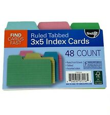 Find It Tabbed Index Cards 3 X 5 Inches Assorted Colors 48 Count Pack