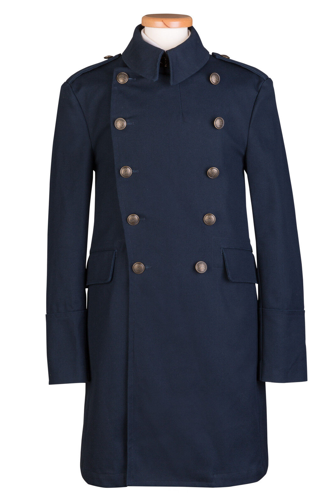 NAVY TRENCH COAT COAT COAT MILITARY BRASS BUTTONS COTTON | Vielfältiges neues Design  701ff2