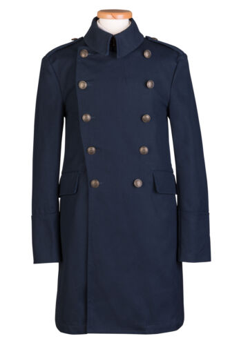 MENS NEW LONG NAVY MILITARY HEAVY TRENCH CANVAS COTTON COAT S M L XL 80/% OFF
