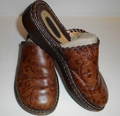 Born Leather Brown Floral Clogs Slip On Sandals Women's Size 7