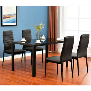 5-Piece-Dining-Table-Set-4-Chair-Elegant-High-Backrest-Dining-Chairs-Furniture