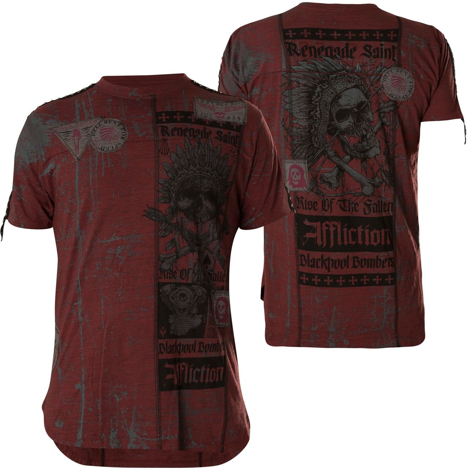 Affliction T-Shirt Falling Wine Red