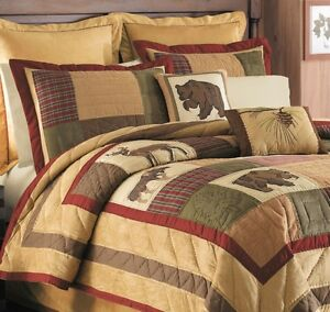 Big Sky 5pc Twin Quilt Set Lodge Cabin Mountain Bear