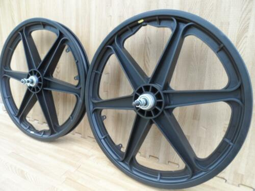 "Pair of 20/"" Bicycle Mag Wheels Set 6 SPOKE BLACK FOR GT DYNO HARO any BMX BIKE"