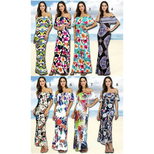 43a5e80a4fd Image is loading Tropical-Floral-Ruffle-Off-Shoulder-Printed-Maxi-Evening-