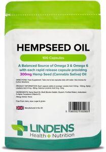 Hempseed Oil 300mg 100 Capsules Hemp seed Fatty Acid Supplement Health Lindens