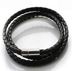 New Fashion Women Men Black Leather Interlaced Cuff Bangle Wristband Bracelet