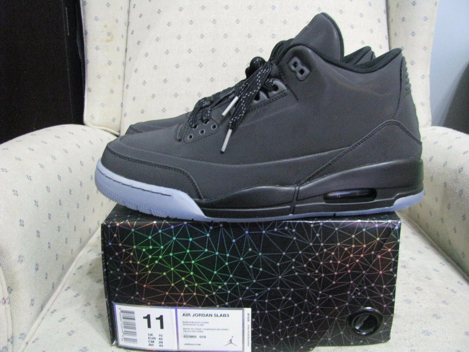 nike zement air jordan retro - 3 5lab3 schwarz spiegelnde zement nike graurote true blue sz. 9ebb72